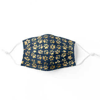 Cute Girly Faux Gold Foil Pet Paw Print on Navy Adult Cloth Face Mask
