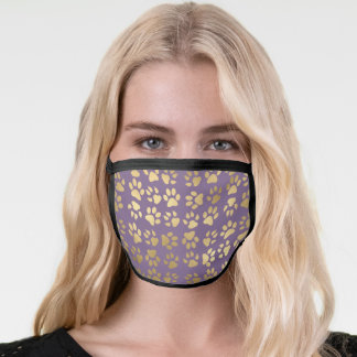 Cute Girly Faux Gold Foil Pet Paw Print on Purple Face Mask