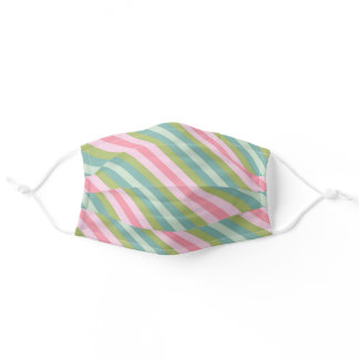 Cute Girly Pastel Pink Blue Green Diagonal Striped Adult Cloth Face Mask