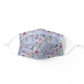 Cute Girly Pastel Pink Dusty Blue Flowers Monogram Adult Cloth Face Mask