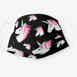 Cute Girly Pink Black Unicorn Emoji Pattern Cloth Face Mask
