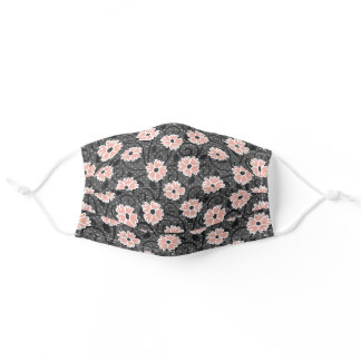 Cute Girly Pink Flowers Black Gray Polka Dots Adult Cloth Face Mask