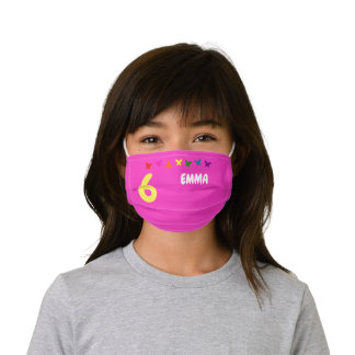 Cute Girly Pink Personalized Name and Birth Number Kids' Cloth Face Mask