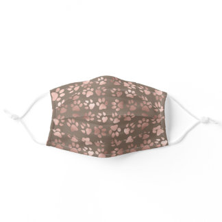 Cute Girly Pink Rose Gold Pet Paw Print on Brown Adult Cloth Face Mask