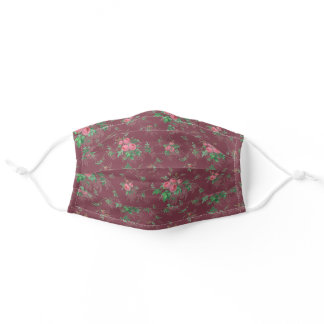 Cute Girly Pink Roses-Maroon Background Adult Cloth Face Mask