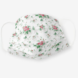 Cute Girly Pink Roses-White Background Cloth Face Mask