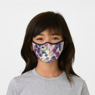 Cute Girly Purple Blush Pink Flowers Green Leaves Premium Face Mask