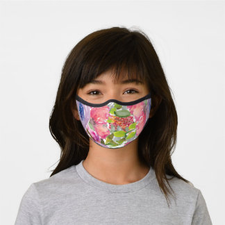 Cute Girly Purple Pink Flowers Green Leaves Premium Face Mask