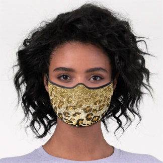 Cute girly trendy yellow gold faux glitter leopard premium face mask