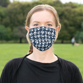 Cute Girly White Navy Blue Pet Paw Print Adult Cloth Face Mask