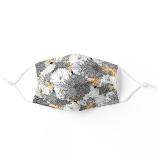 Cute Girly Yellow & Gray Floral Illustration Adult Cloth Face Mask