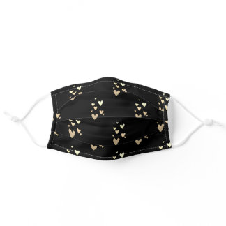 Cute Gold Hearts Black Adult Cloth Face Mask