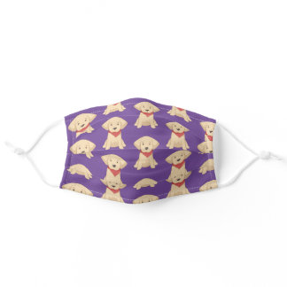 Cute Golden Retriever Puppy Red Scarf Purple Adult Cloth Face Mask