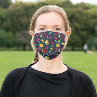 Cute Goldenrod Deep Red Doodle Floral on Navy Blue Adult Cloth Face Mask