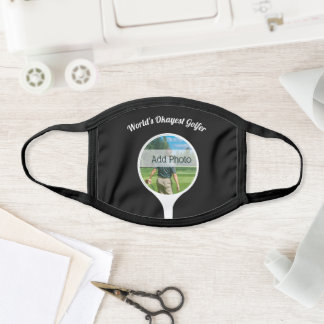 Cute Golf players photo World's Okayest Golfer Face Mask