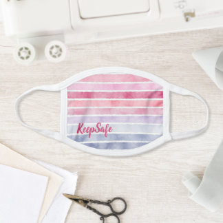Cute Gradient Watercolor Stripes Background Face Mask