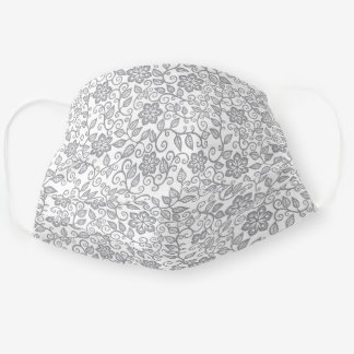 Cute Gray And White Simple Classy Floral Paisley Cloth Face Mask