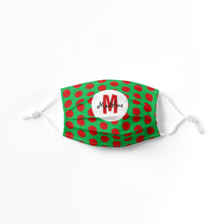 Cute Green and Red Polka Dots Monogram Name Kids' Cloth Face Mask