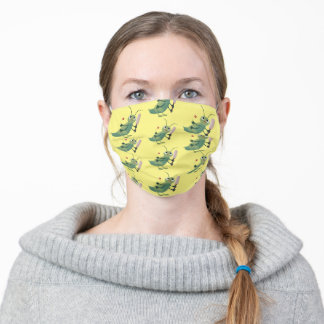 Cute green cricket insect cartoon illustration adult cloth face mask