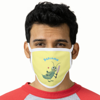 Cute green cricket insect cartoon illustration face mask