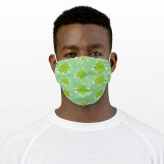 Cute green lime bubbles cartoon illustration adult cloth face mask