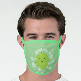 Cute green lime bubbles cartoon illustration face mask