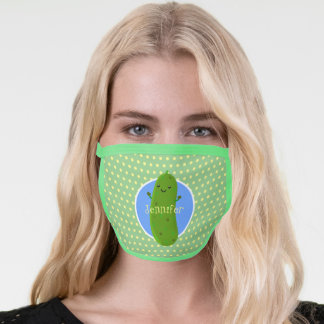 Cute green pickle cucumber cartoon illustration face mask