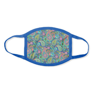Cute Green Turquoise Blue Pink Floral Paisley Face Mask