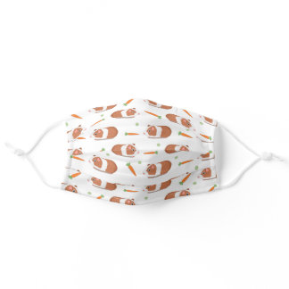 Cute Guinea Pigs Carrots Fun Animal Pattern White Adult Cloth Face Mask