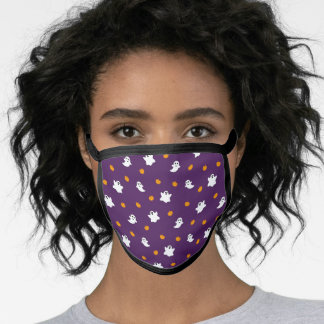 Cute Halloween Pattern with Purple Background Face Mask