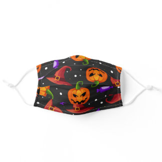 Cute Halloween Pumpkin jack o lantern Witch Hat Adult Cloth Face Mask