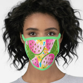Cute Hand Painted Preppy Pink Watermelon Pattern Face Mask
