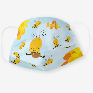 Cute Happy Bumble Bee with Flowers Cloth Face Mask