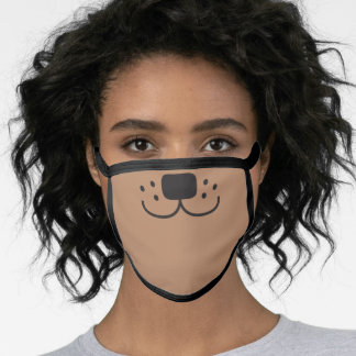 Cute Happy Puppy Dog Doggy Cartoon light brown Face Mask