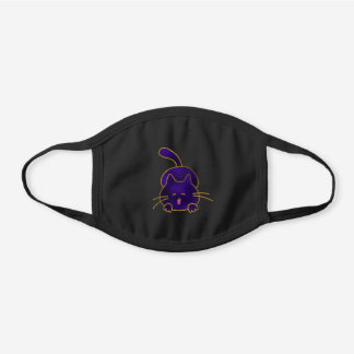 Cute Happy Purple Stained Glass Cat Black Cotton Face Mask