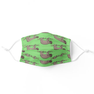 Cute happy sloth on branch cartoon pattern adult cloth face mask