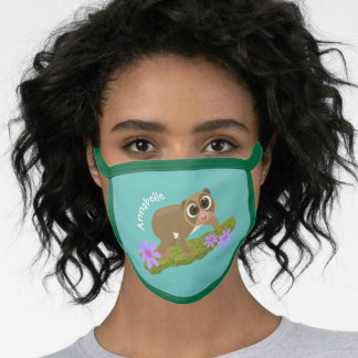 Cute happy slow loris on branch cartoon face mask