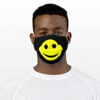 Cute Happy Smiling Face Add Monogram or Text Funny Adult Cloth Face Mask
