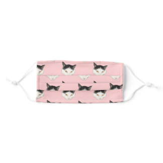 Cute Harlequin Cats Pattern over Pink Background Adult Cloth Face Mask