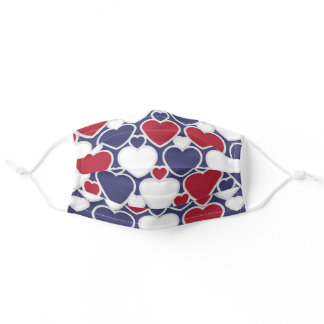 Cute Heart Pattern Red White Blue Cloth Adult Cloth Face Mask