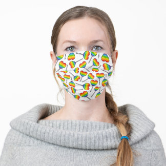 Cute heart shape lollypop rainbow colors pattern adult cloth face mask