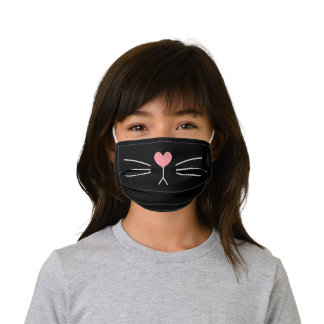 Cute Heart-Shaped Cat Nose Kids' Cloth Face Mask