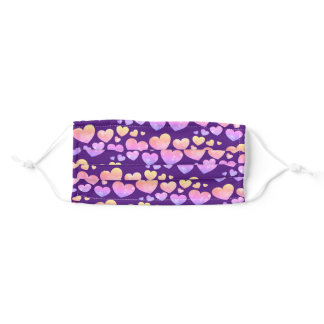 Cute Hearts Pattern Watercolor Pink Purple Adult Cloth Face Mask
