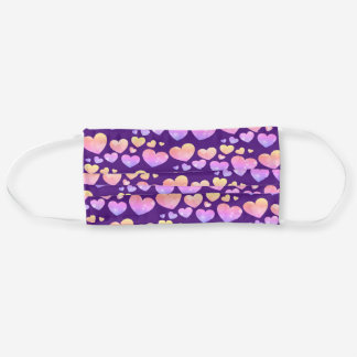 Cute Hearts Pattern Watercolor Pink Purple Cloth Face Mask