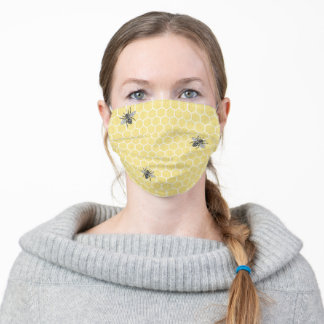 Cute Honeycomb Bee Adult Cloth Face Mask