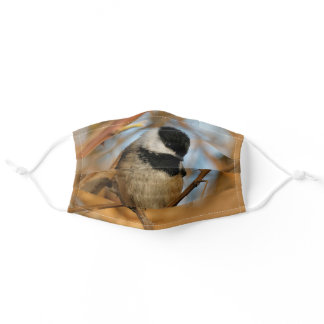 Cute Hopeful Black-Capped Chickadee Songbird Adult Cloth Face Mask
