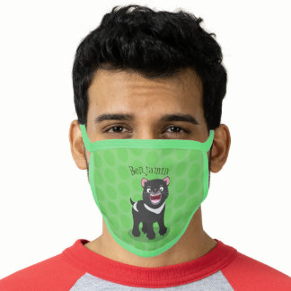 Cute hungry Tasmanian devil cartoon illustration Face Mask
