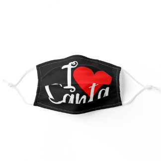Cute I Love Santa Adult Cloth Face Mask