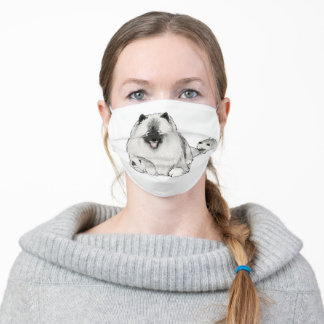 Cute Keeshond Dog with Puppies Adult Cloth Face Mask