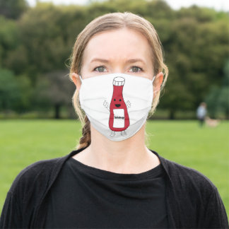Cute Ketchup Bottle Red Personalize Adult Cloth Face Mask